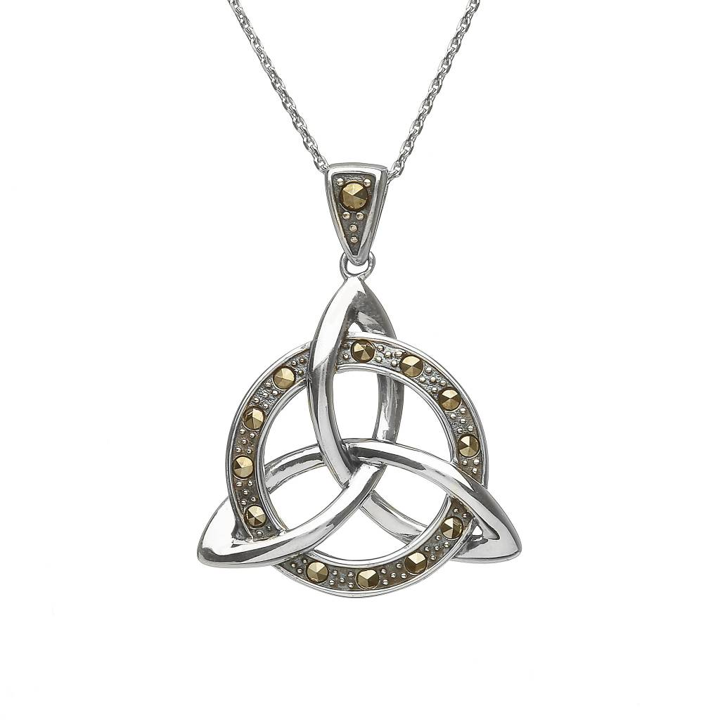 Pendant: SS Entwined Circle Marcasite Trinity
