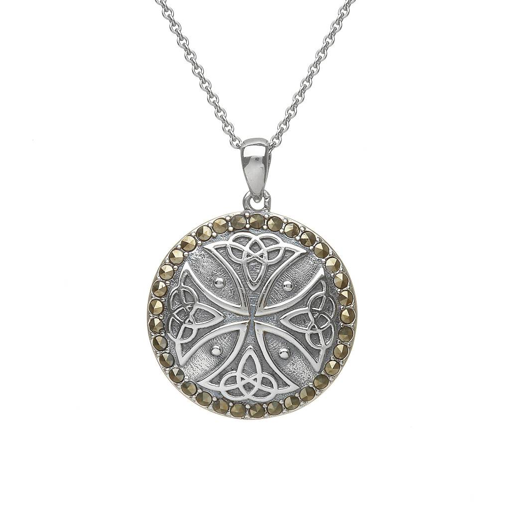 Pendant: SS Trinity Marcasite Button