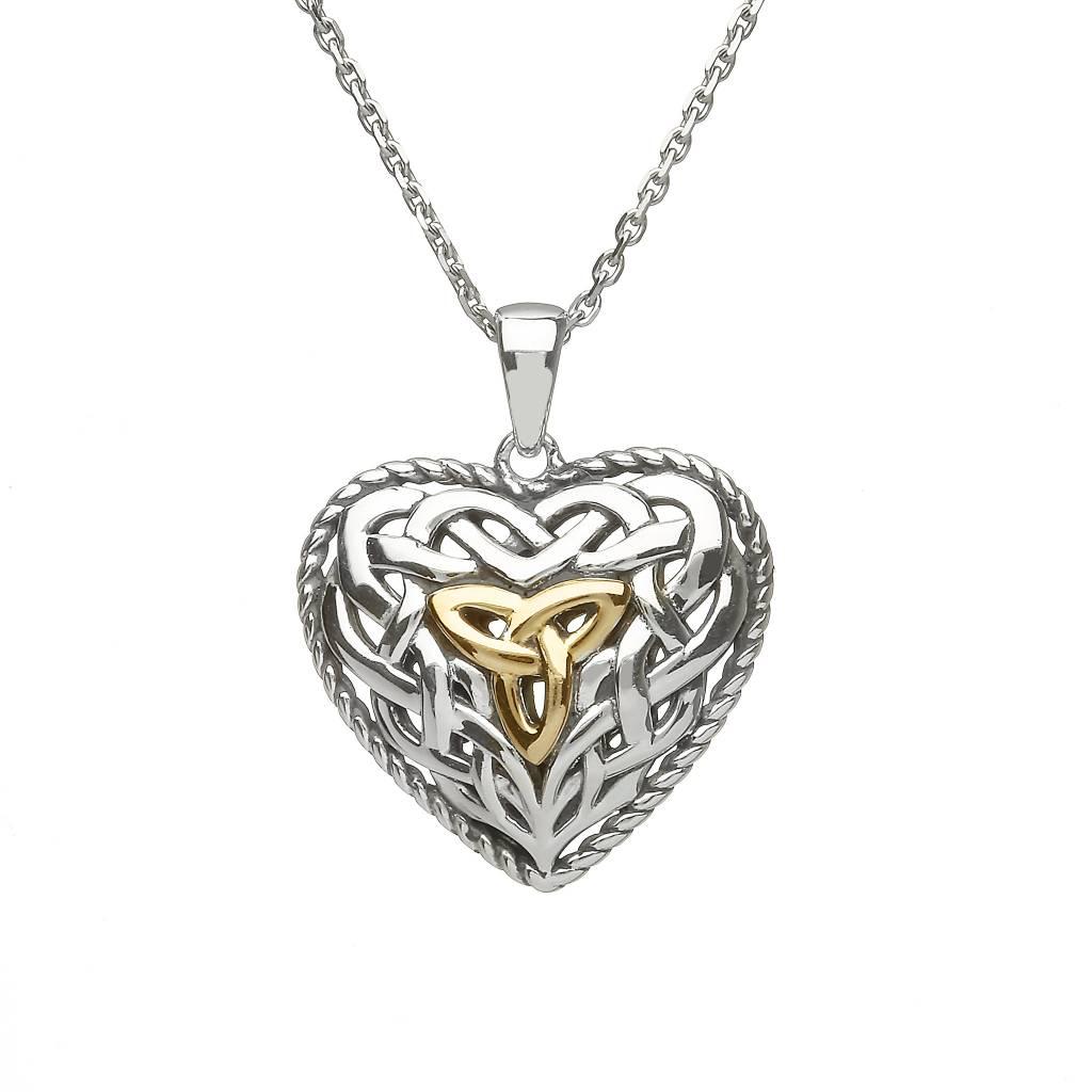 Pendant: SS Dbl Sided PUffy Celtic Heart