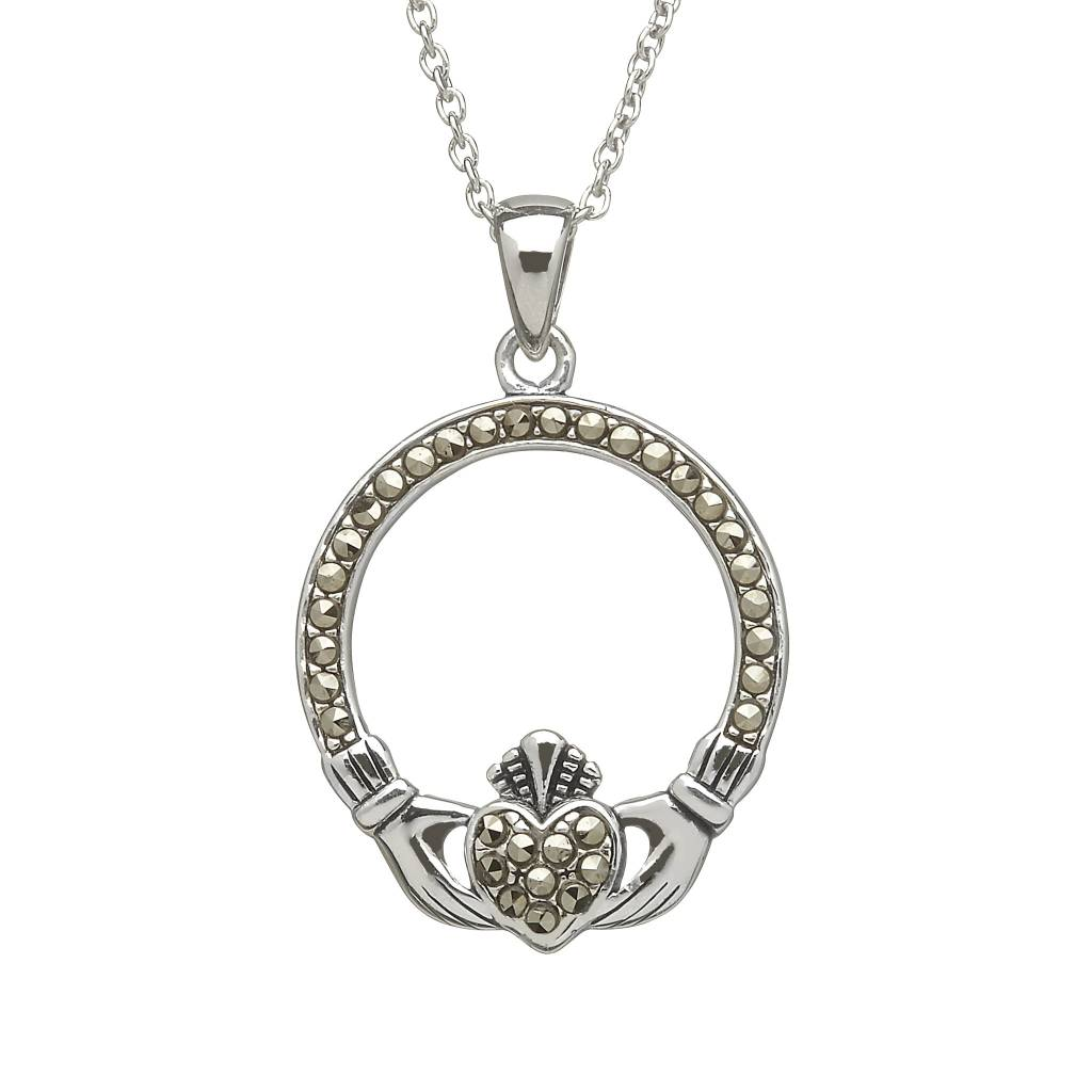 Pendant: SS Marcasite Claddagh