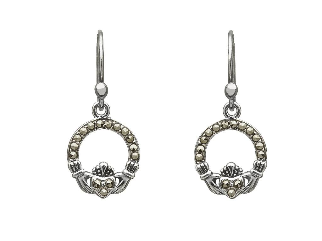 Earrings: SS Marcasite Claddagh Drop