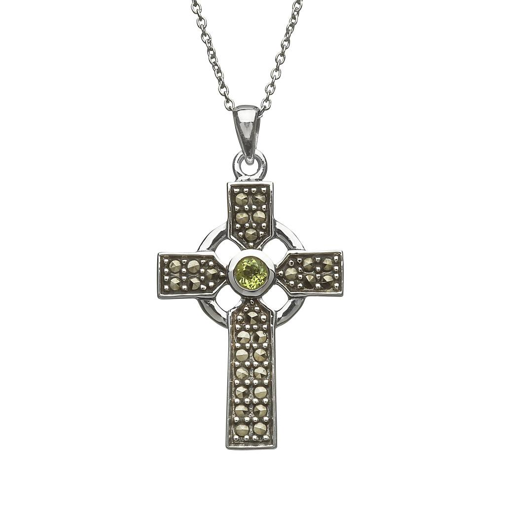 Pendant: SS Marcasite Green CZ Celtic Cross