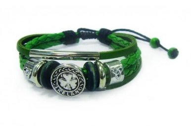 Bracelet: Leather Shamrock/Trinity Button