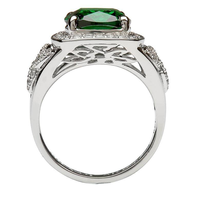 Ring: Silver Green Cz Trinity Knot Halo