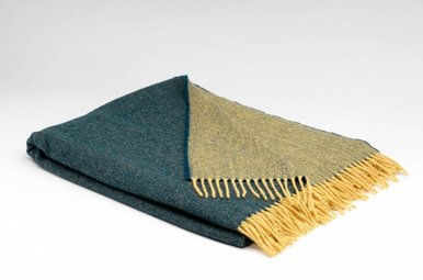 Throw: Lambswool Reversible, Forest+Mustard