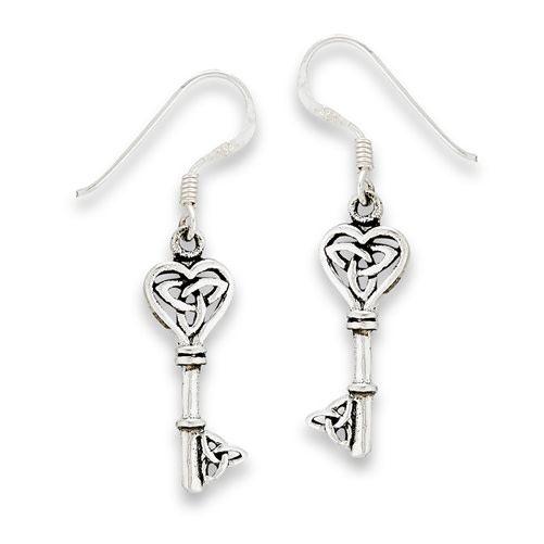 Earring: SS Key w/Triquetras Dangle WE9724