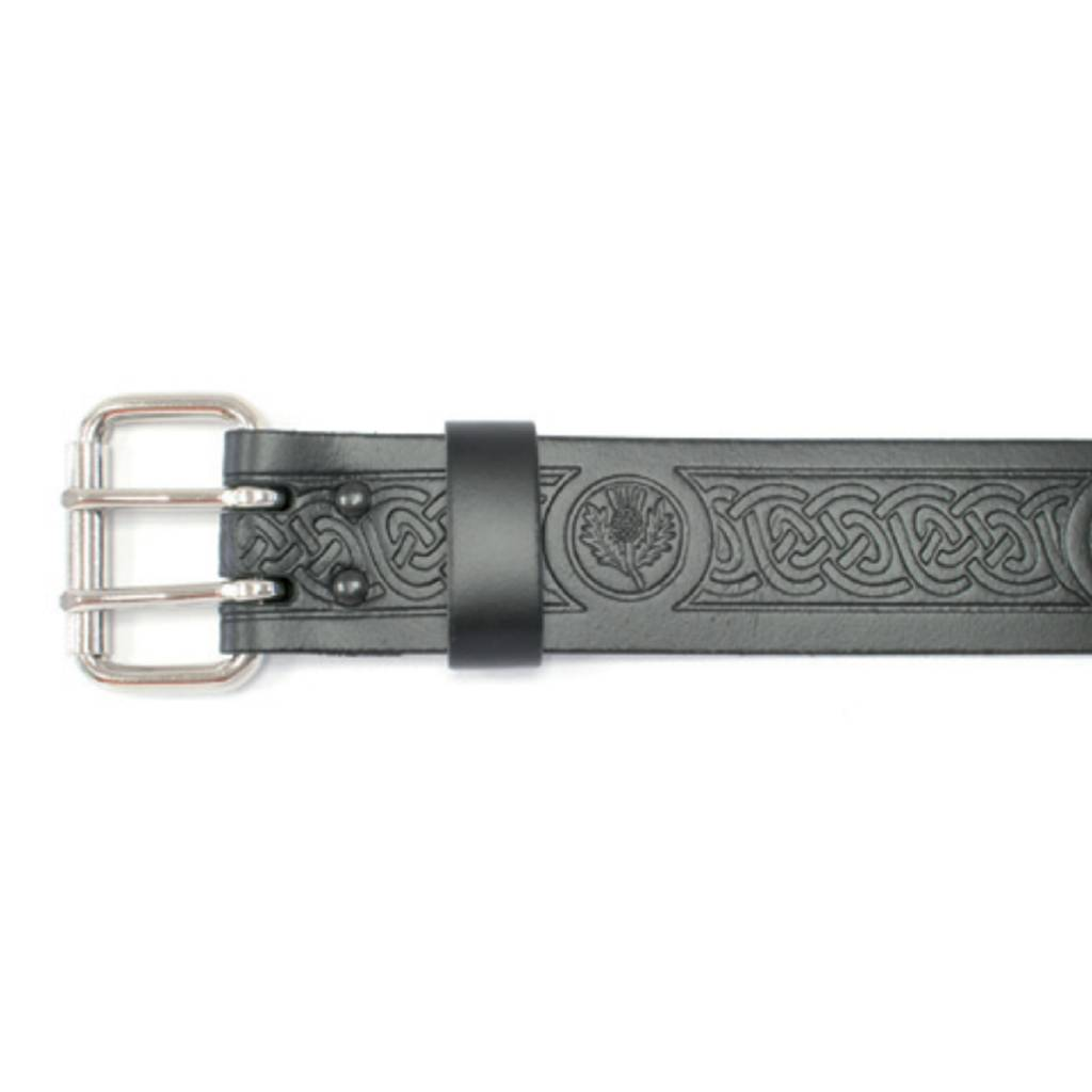 "Glen Esk Belt: 2"" Roller, Embossed Thistle"