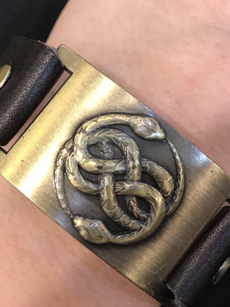 Leather Bracelet: Snakes, Leather & Zinc Alloy