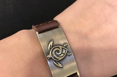Bracelet: Celtic Turtle, Leather & Zinc Alloy
