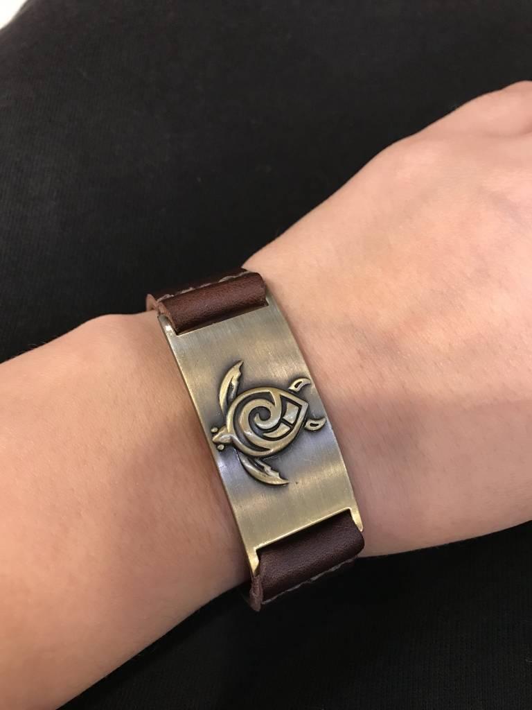 Bracelet: Celtic Turtle, Leather & Zinc Alloy