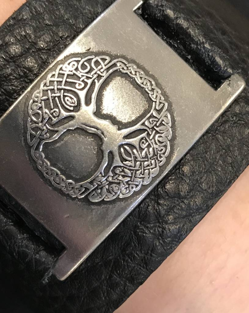 Bracelet: Tree of Life, Leather & Pewter, Wide