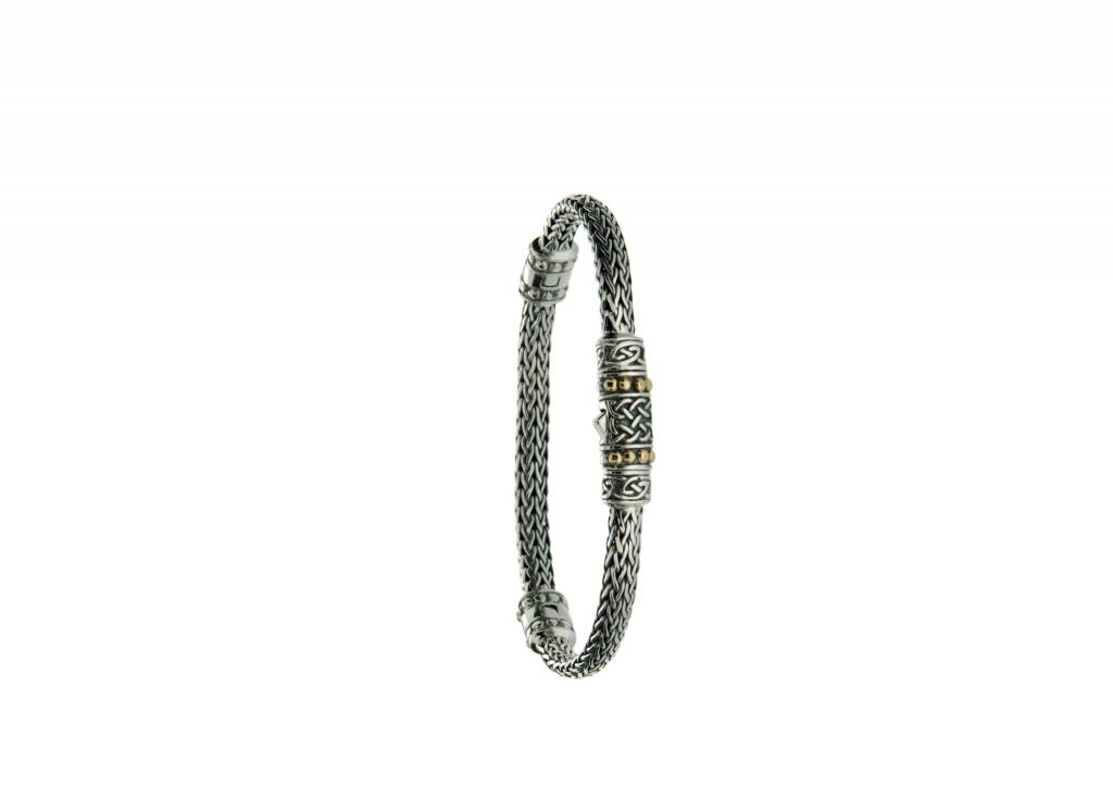Keith Jack Bracelet: Sterling & 18k Dragon Weave Eternity