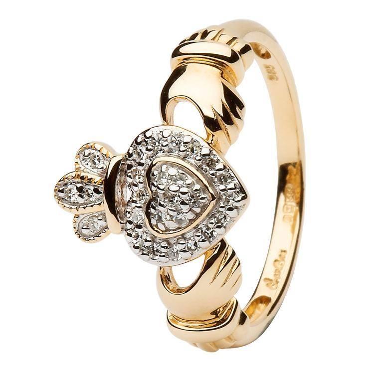 Ring: 14k Gold Claddagh Diamond