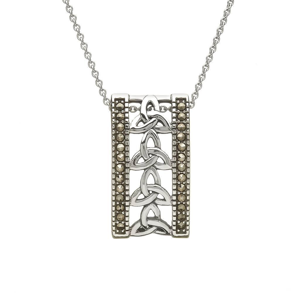 Anu Pendant: SS Trinity Knot, Marcasite