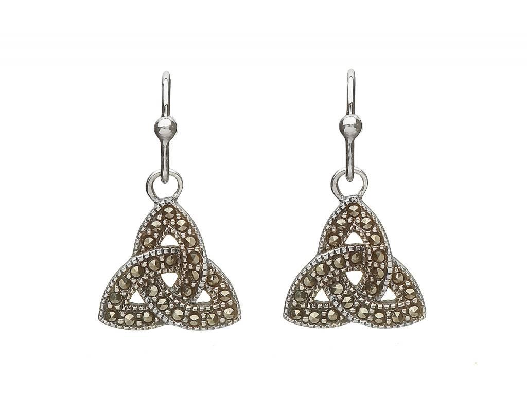 Anu Earrings: SS Triquetra Drop, Marcasite