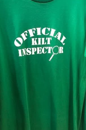 T Shirt: Official Kilt Inspector Green