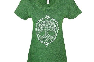 T Shirt: V neck Emerald Tree of Life