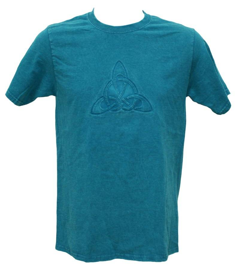 T Shirt: Teal Trinity Embossed