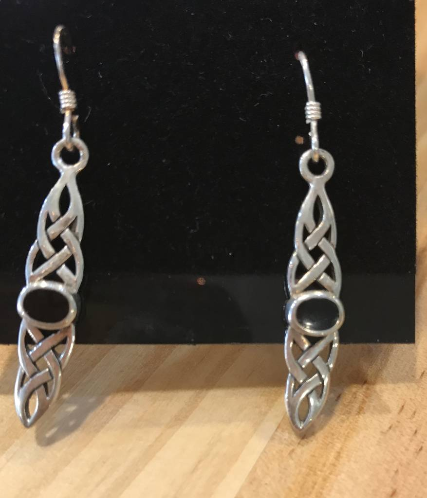 Earring: SS Celtic Weave/Blk Onyx