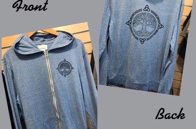 T Shirt: Tree of Life Zip Blue