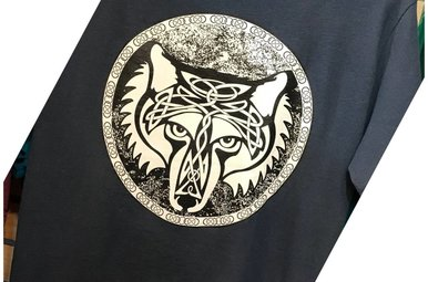 T Shirt: Celtic Wolf on Blue Dusk