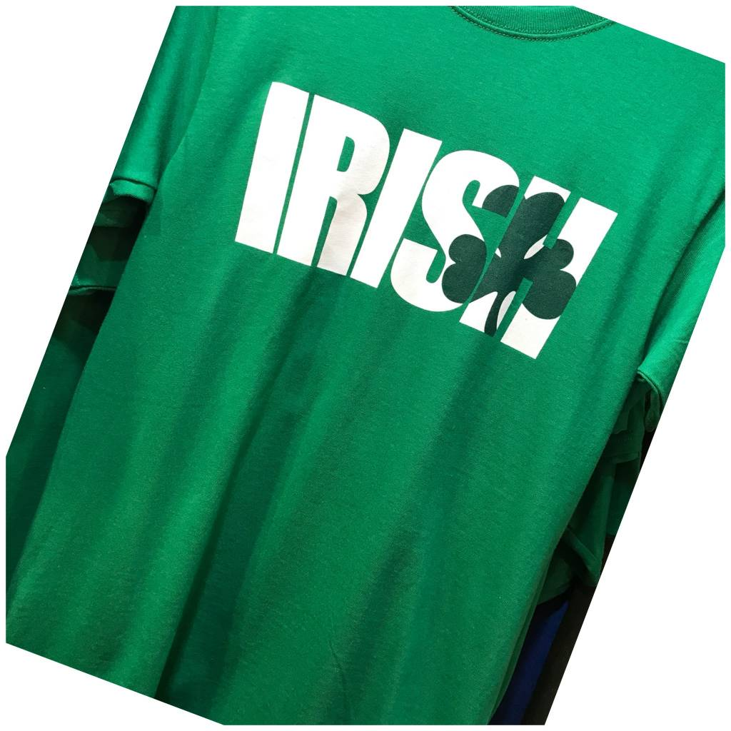 T Shirt: Irish Shamrock over S&H on Grn