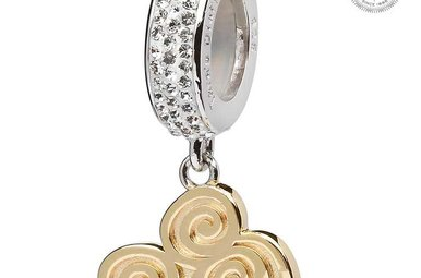 Bead: Gld Plated Triskele Drop