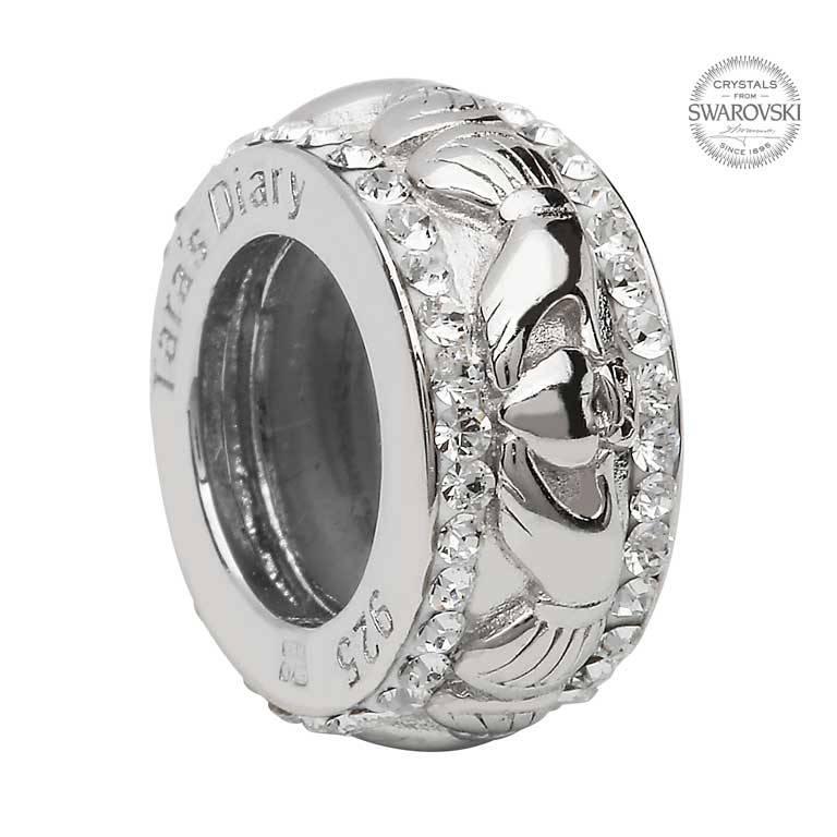 Shanore Bead: SS SW Claddagh Crystal
