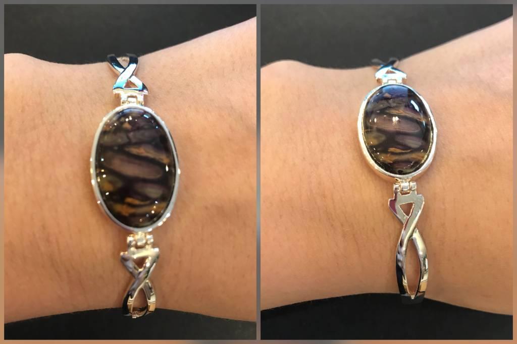 Heather Gems Bracelet: Bangle Sterling Plated Heather Gems