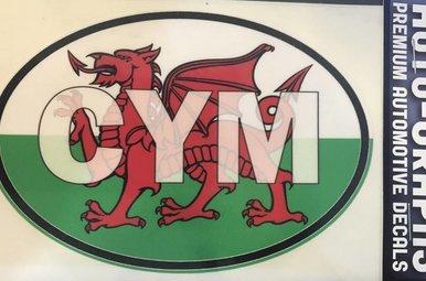 Sticker: Flag Oval, Wales ABV (CYM)