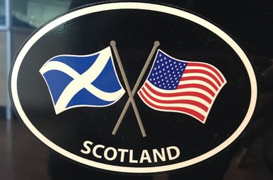 Sticker: Crossed Flags, Scotland/USA