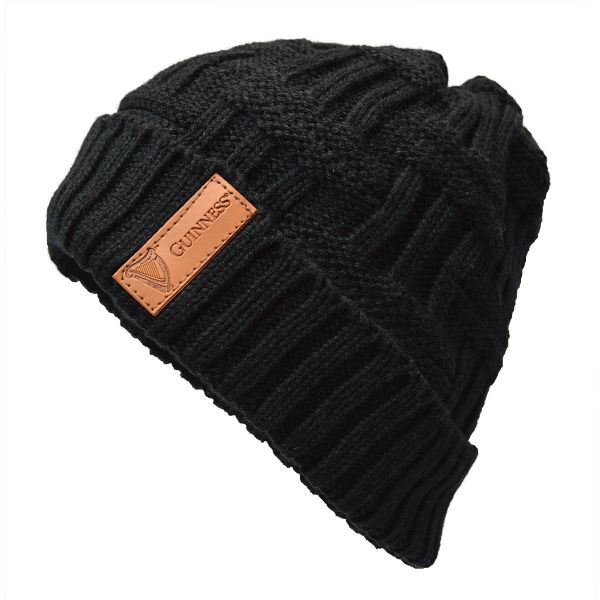 Guinness Hat: Guinness Black Beanie, Fitted