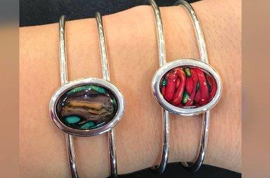 Bracelet: Bangle Sterling Heather Gems