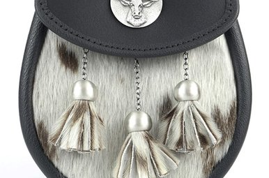 Sporran: Semi Dress Stag Mount, Black