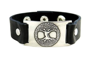 Bracelet: Tree of Life, Leather & Pewter