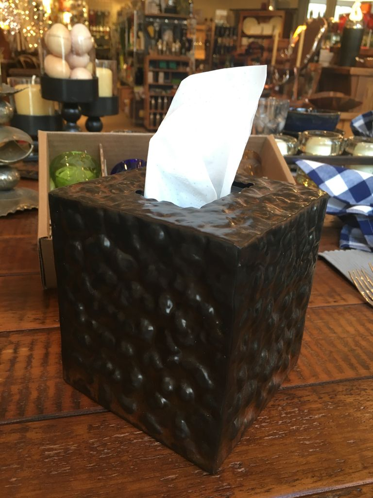 Hammered Iron Tissue Box