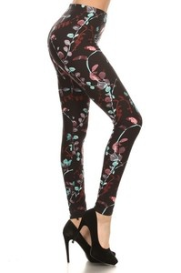 Red Ribbon Midnight Painted Floral Leggings