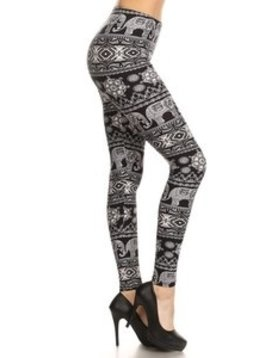 Red Ribbon Elephant Geo Legging