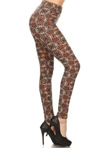 Red Ribbon Flower Tile Legging