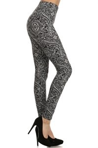 Red Ribbon Paisley Baroque Legging