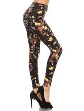 Red Ribbon Painted Flower Legging
