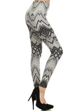 Red Ribbon Silver Geo Legging