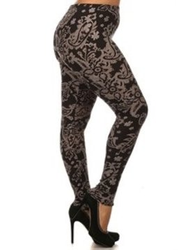 Red Ribbon Tall and Curvy Silver Paisley Legging