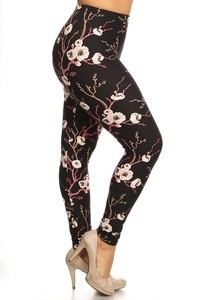 Red Ribbon Tall and Curvy Cherry Blossom Legging
