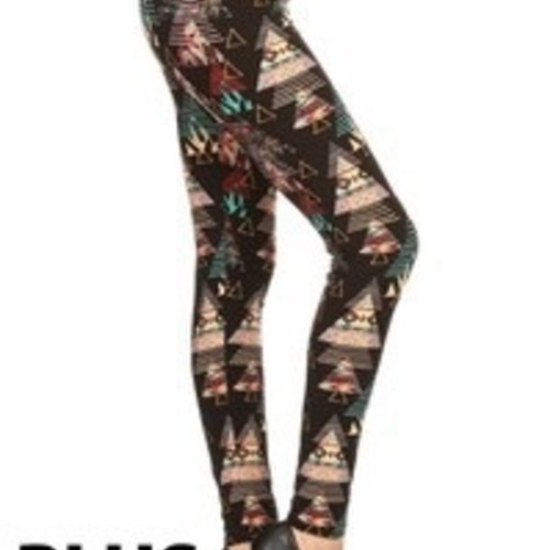 Red Ribbon Tall and Curvy Geo Tree Legging