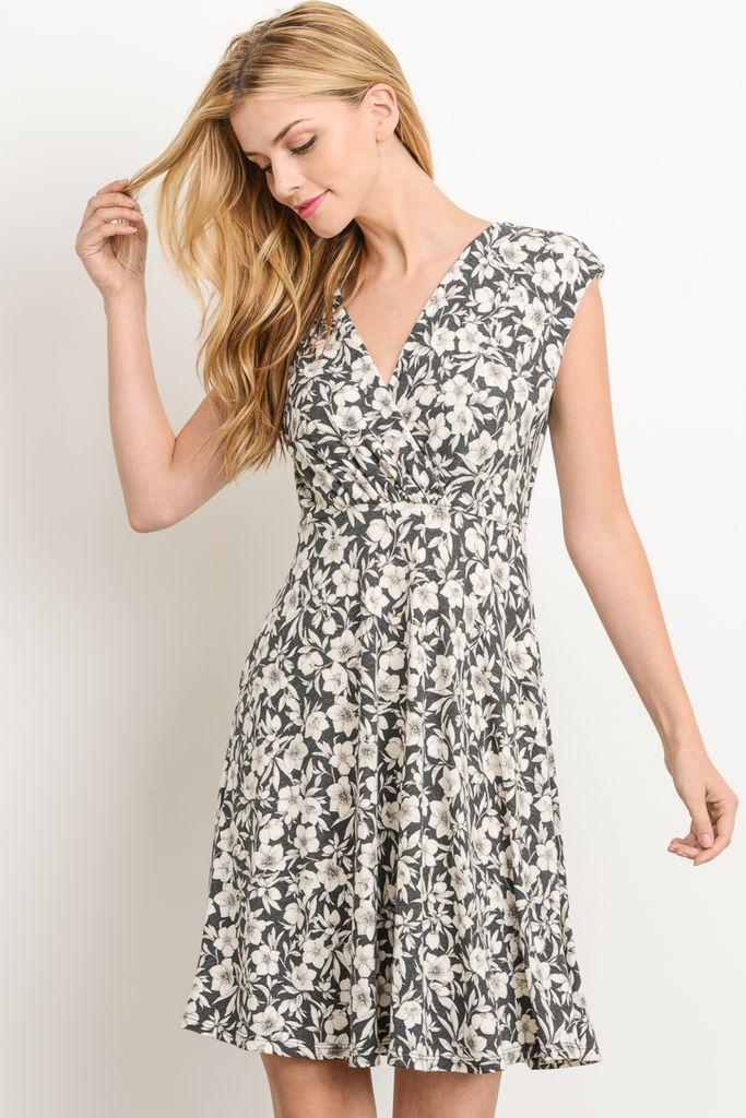 Gilli Charcoal + Palm Dress