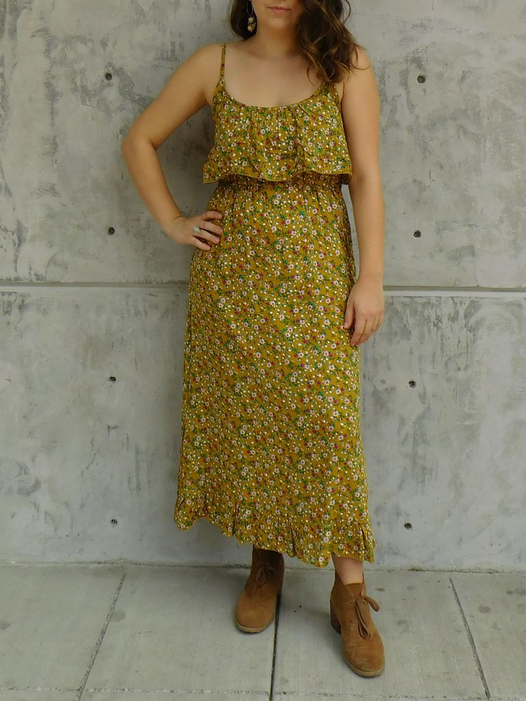 Gypsy Chic Prairie Maxi Dress, Yellow Floral Bouquets