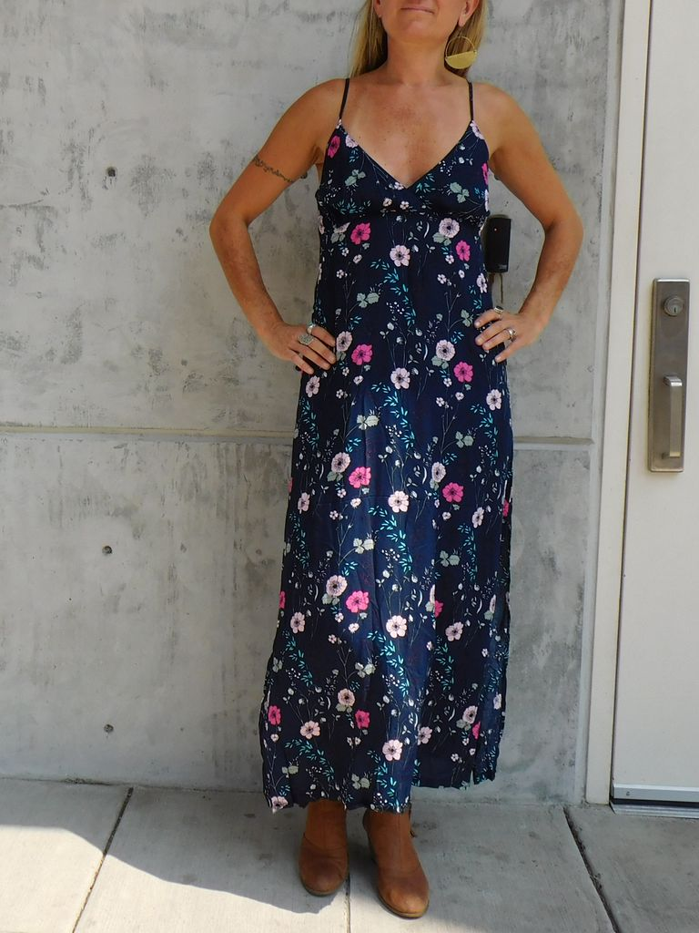 Gypsy Chic Sunset Slip Maxi, Navy Floral Bouquets
