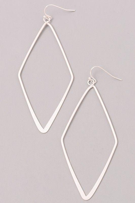 GCB Diamond Shaped Silver Earrings