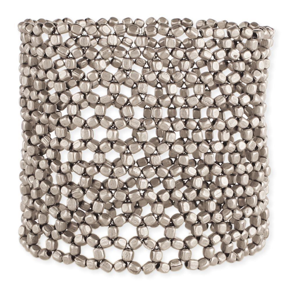 Zad Silver Open Weave Stretch Bracelet
